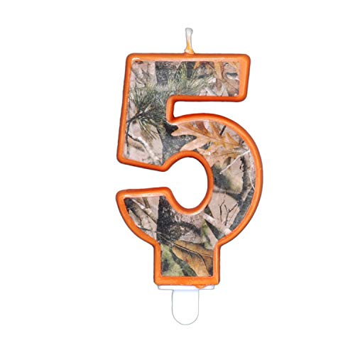 Havercamp Next Camo Party Birthday Number 5' Candle   1 Count   Great for Hunter Themed Party, Camouflage Motif, Birthday Event, Graduation Party, Father's Day Celebration, Wedding Anniversary