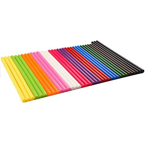 50 barras de pegamento termofusible de color, 7 mm x 250 mm, no tóxico, alta viscosidad, uso de pistola de pegamento de baja potencia, bricolaje hecho a mano, mantenimiento diario del hogar (color: A)