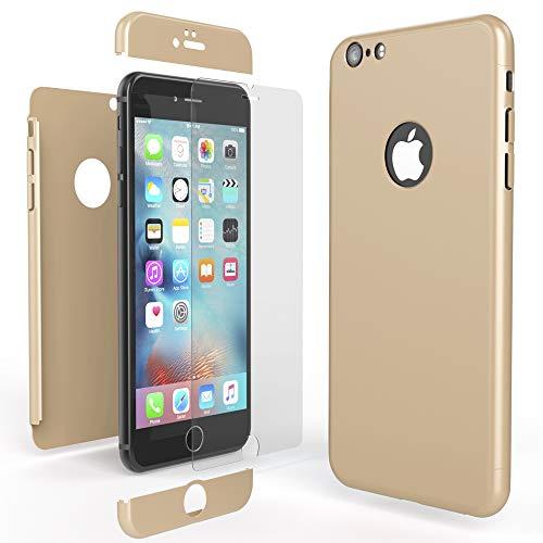 NALIA Coque Integrale Compatible avec iPhone 6 Plus / 6S Plus, Ultra-Fine Housse Avant & Arrière Protection avec Verre Trempe, Mince 360-Degrées Cover Etui Slim Hard-Case Bumper, Couleur:Gold Or