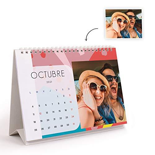 Fotoprix Calendario 2021 sobremesa personalizado con tus fotos | Varios Diseños y Tamaños Disponibles | Calendario estilo Pop | Tamaño: 21 x 15 cm