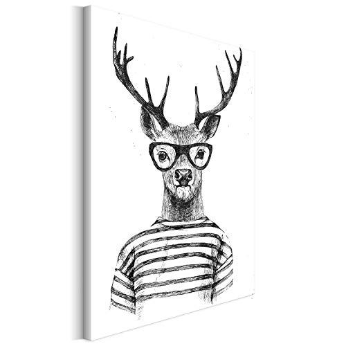 Revolio 60x80 cm Leinwandbild Wandbilder Wohnzimmer Modern Kunstdruck Design Wanddekoration Deko Bild auf Leinwand Bilder 1 Teilig - Hirsch Tiere Brille grau weiß