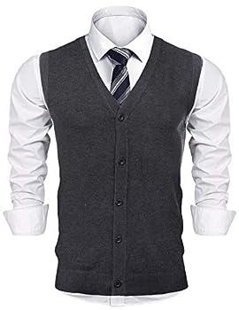 iClosam Mens V-Neck Slim Fit Sweater Vests Knitted Lightweight Button-Down Vest Cardigan
