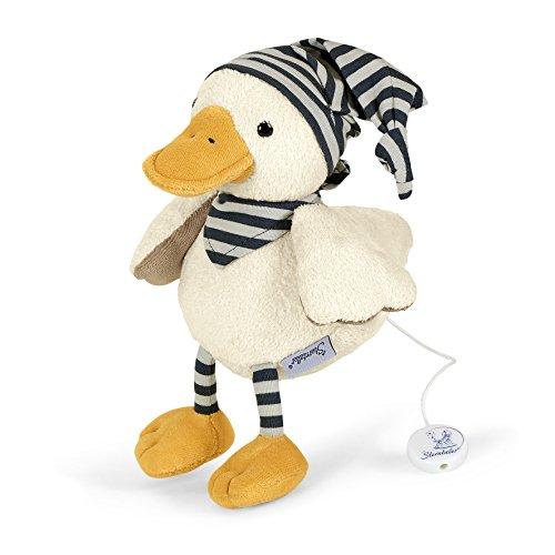 Sterntaler Spieluhr, Stofftier Ente Edda, Austauschbares Spielwerk, Größe: M, Weiß