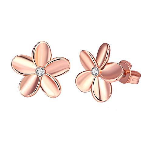 Mujer Flower Stud Earrings,Girls Rose/Silver Plated Color Flower Shaped Sparkly Rhinestone Stud Earrings Lo mejor para regalo -Joyer¨ªa Gift