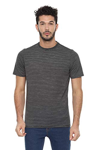 Louis Philippe Men's Striped Slim fit T-Shirt (LRKCCSLFR28868_Black XL)