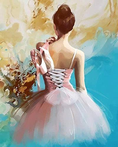 QIAOYUE Pintar por números para Bailarina de Ballet Adulto y niños Kit de Pintura DIY Principiante Pintura Arte Lienzo preimpreso 40X50CM sin Marco