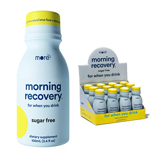 Morning Recovery: Patent-Pending Liver Detox Drink (Pack of 12) - Sugar-Free Lemon Flavor - Highly Bioavailable Liquid DHM, Milk Thistle, Electrolytes - No Artificial Flavors