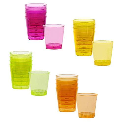 Boland-BOL31055 Juego vasos de chupito de plástico (4 colores, 20 piezas), multicolor, Talla única (Ciao Srl BOL31055)