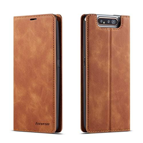 QLTYPRI Hülle für Samsung Galaxy A80 A90, Premium Dünne Ledertasche Handyhülle mit Kartenfach Ständer Flip Schutzhülle Kompatibel mit Samsung Galaxy A80 A90 - Braun