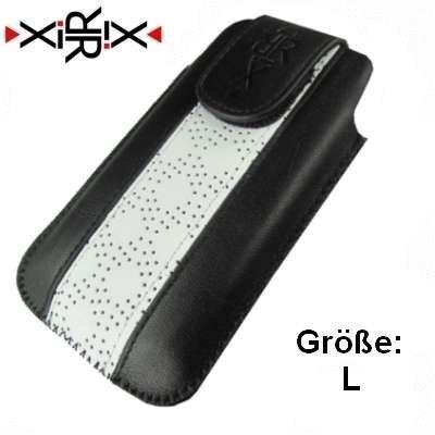 XiRRiX Vertikal Handy Echt Leder Tasche - Grösse: L - schwarz / weiß