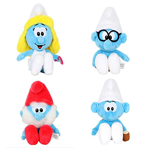 Smurfs Smurfette Hefty Papa Brainy Set, Stuffed Animals Plush Toy Bag Charm Gift for Kids Backpack Clip 8', Set of 4