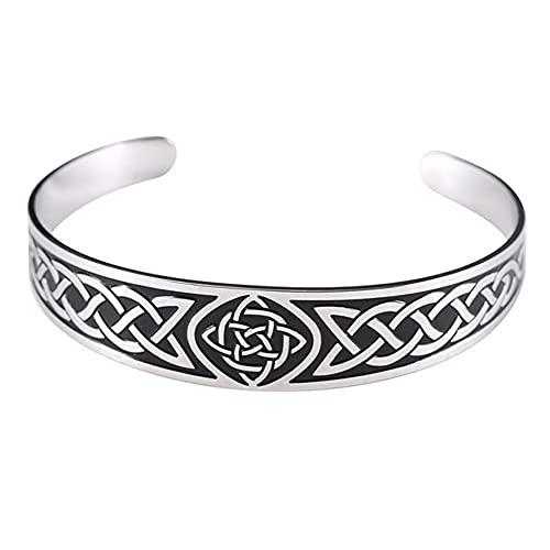 Pulsera Celta Brazalete De Acero Inoxidable para Hombre Símbolo Vikingo Vintage Joyas De Amuleto Nórdico