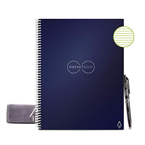 Rocketbook - Libreta inteligente reutilizable con forro ecológico. 1 bolígrafo Pilot Frixion y 1 paño de microfibra incluidos, color azul oscuro Letter A4
