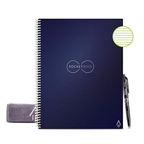 Rocketbook Unbegrenzt Wiederverwendbares Notizbuch - Letter A4, Blau, Liniert, Inklusive Pilot FriXion Stift und Mikrofasertuch