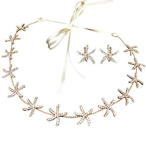Viesky Diadema de novia coreana con brillantes de estrás, estrella de mar, cinta larga, aro para el pelo, playa, vacaciones, bricolaje, estilo corona con pendientes