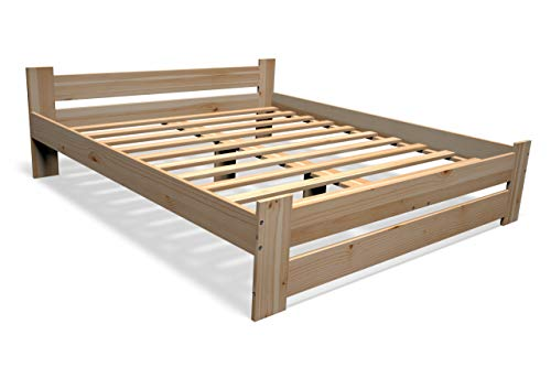 Best For You - Cama doble de madera maciza en color natural, 100 % madera natural, con cabecero y somier, muchos tamaños