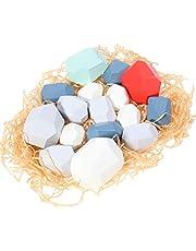 NUOBESTY Houten Evenwichtsblokken Gekleurde Houten Stenen Stapelspel Rotsblokken Vroege Educatieve Stapelspeelgoed Voor Kinderen 10St