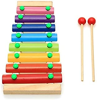 INSO Wooden Xylophone for Kids, Wood Base with 8 Metal Keys in a Scale, 2 Child-Safe Plastic Mallets