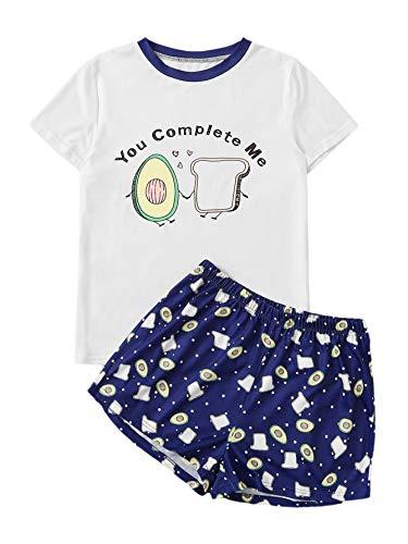DIDK Women's Round Neck Short Sleeve Print Top Shorts Pajama Set