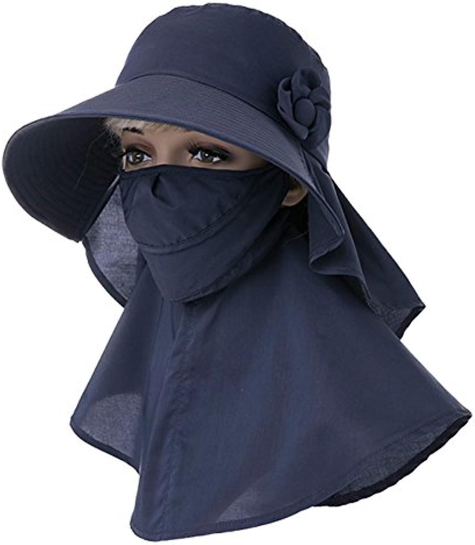 YD Hat Summer Hat, Summer Hats Women Sunscreen Face Mask Adjustable Velcro Neck Guard Foldable Portable, 5 colors Optional    (color   Dark blueee)
