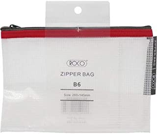 Roco RQ-FB8064PNK B6 Topload Opening Document Pouch, Clear-Pink Accent