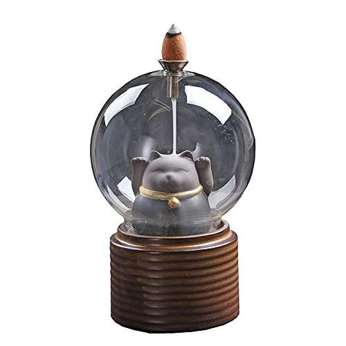 Lucky Cat Quemador de incienso de flujo posterior Quemador de incienso de flujo Retro Cerámica Horno de aromaterapia Oficina Ceremonia del té Decoración Decoración del hogar Regalo Botella de vidrio,
