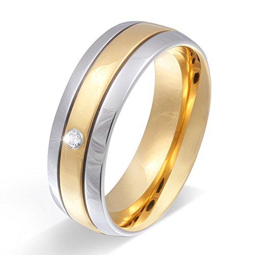 Juwelier Schönschmied - Damen Partnerring Ehering Hochzeitsring Asilar Edelstahl Zirkonia 54 (17.2) 110Dac