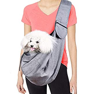 Musonic Pet Carrier, Hand Free Sling for Small Dog Cat Adjustable Cotton Padded Strap Outdoor Travel Shoulder Bag Tote Bag Safety Net Front Zipper Pocket Breathable Oxford Fabric Under 13 LBS Dogs 20