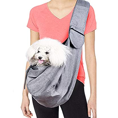 Musonic Pet Carrier, Hand Free Sling for Small Dog Cat Adjustable Cotton Padded Strap Outdoor Travel Shoulder Bag Tote Bag Safety Net Front Zipper Pocket Breathable Oxford Fabric Under 13 LBS Dogs 1