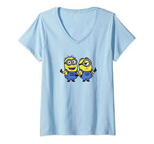 Mujer Despicable Me Minions Best Pals Portrait Camiseta Cuello V
