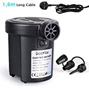 Deeplee Electric Pump, 150W/130W High Power Electric Air Pump for Air Bed Mattress Inflatables Paddling Pool Beach Toys, AC 220-240V Quick-Fill Inflator Deflator with 3 Sizes Nozzle
