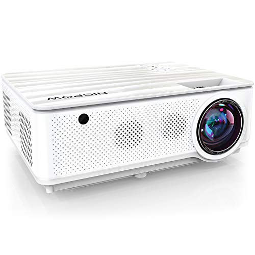 Native 1080P Projector,NICPOW 7200L Full HD Video Projector,±40° 4D Keystone Correction,Outdoor Movie Projector with Max 300' Display&50% Zoom,Compatible with TV Stick, PS4, HDMI,VGA,AV and USB