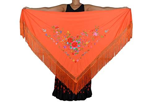 ANUKA Mantón GRANDE triangular de flamenco o sevillanas (195X95cm) NARANJA