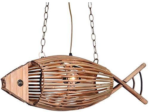 Lámpara De Pared Simple Y Fresca Forma de pescado Strip de madera Puntando Colgante Luz de estilo Loft Estilo de madera 2-Luces Cocina Isla Luces Techo Colgando Luz para Comedor Restaurante E27