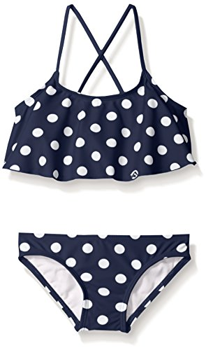 Kanu Surf Girls' Big Karlie Flounce Bikini Beach Sport 2-Piece Swimsuit, Suzie Navy Dot, 7