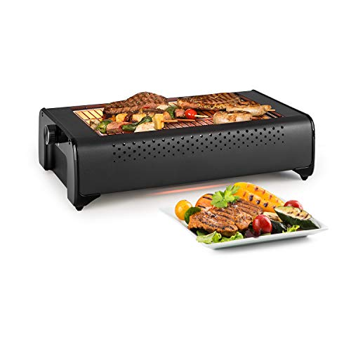 Klarstein Infragrill elektrische grill - 1500 W, IR Smaakervaring, weinig rook, snelle verwarming, traploos regelbaar, verwijderbare vetopvangbak, roestvrijstalen rooster, zwart