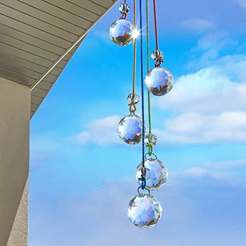 LEMESO Pack de Colgante de Bolas Cristal Atrapasoles Adornos 0,5 metros de Largo para Hogar, Regalo Estreno de una Casa Housewarming Gift