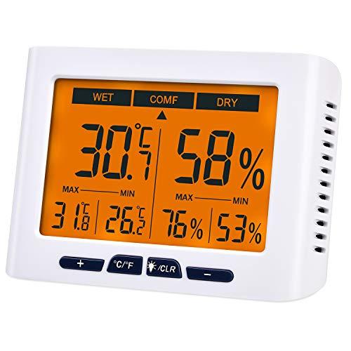 Diyife Termómetro Higrómetro, [Actualizado] Medidor de Humedad Digital, Interior Monitor Termómetro LCD Retroiluminación, Mín y Máx, °C / °F, Montaje en Pared y Sobremesa para Oficina Dormitorio