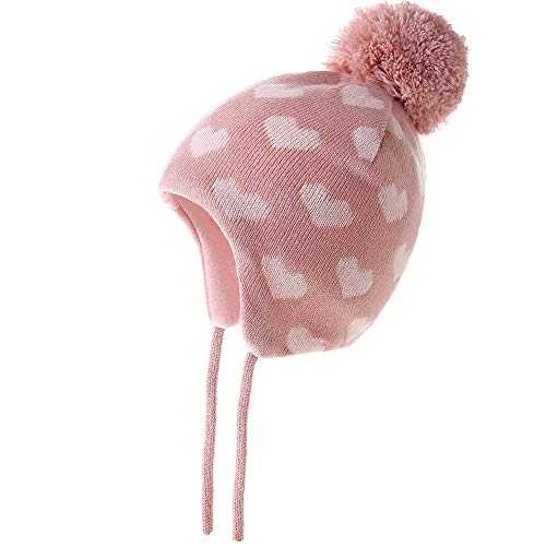 Monimo Mädchen Mütze Stricken Verdicken Ohrenschützer Hut Warm Wintermütze für Kinder