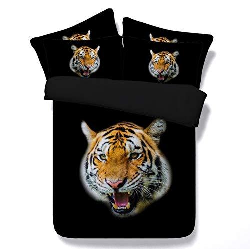 Qiutian Tiger Head Print Beddengoed op 3D dekbedovertrek in pocket dekbedovertrek groot tweepersoonsbed vol tweelingen 140x210cm Tiger Head Print