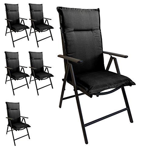 Multistore 2002 6er Set Elegante Gartenstuhlauflage Stuhlauflage Polsterauflage Hochlehner Grau 120x45cm - 5cm dick Sitzauflage Sitzpolsterauflage Sitzkissenpolster