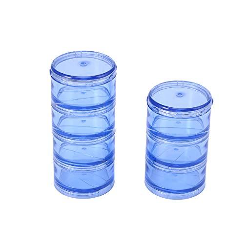 SUPVOX 1 Set portátil 7 días caja de pastillas apilable torre de viaje pastillero (azul)