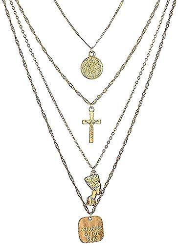 Collar Collar Bohémien Multicapa Cruz Cho Collar Color Oro Letra Collar con colgante Figura egipcia Joyería de mujer