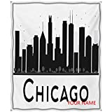 Chicago Skyline Plush Throw Blankets, Simplistic Urban Silhouette Tourism Downtown Business City Buildings DIY Blanket, Natural, Cozy, Pet-Friendly, All-Seasons, Black and White W60 by L80