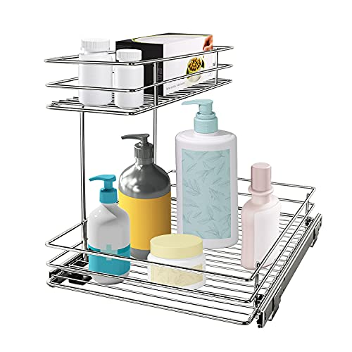 G-TING Pull Out Cabinet Organizer, Under Sink Slide Out Storage Shelf with 2 Tier Sliding Wire Drawer - 12.6W x 16.53D x 12.99H - Request at Least 13 Inch Cabinet Opening