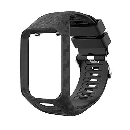 Yivibe Watch Strap Watchband for Tomtom 2 3 Series Silicone Wrist Band Strap for Tomtom Runner 2 3 Spark GPS Watch Tracker Replacement ( Color : Black )