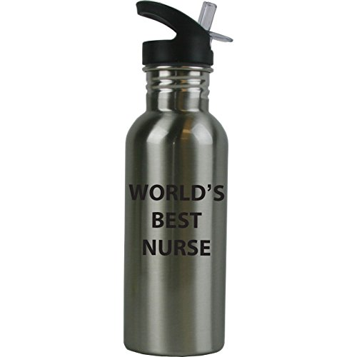 Engraved Cases World's Best Nurse Stainless Steel Sublimation Water Bottle with Straw Top 20 Ounce 600ml Sport Water Bottle - Birthday for Nurse RN CNA LPN Nurses