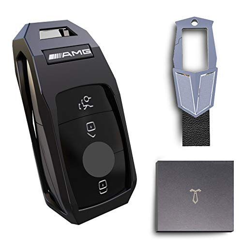BAOXIN Coque de Protection pour clé de Voiture pour Mercedes Benz, Housse de clé de Voiture en Alliage de Zinc avec Porte-clés Adapté à Benz Nouvelle Classe E/S/C/Nouveau GLC