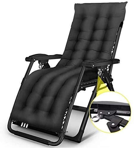 ADHW - Sillón reclinable exterior, silla larga, jardín exterior, silla de relajación, playa, baño de sol, fundas de cojín, tumbona, negro
