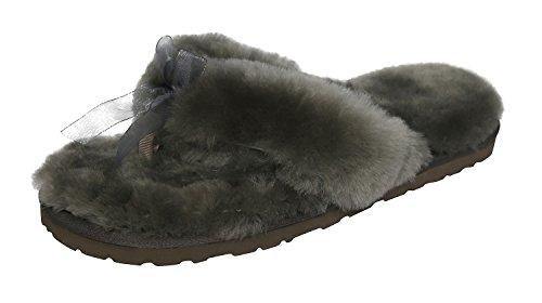 SLPR Women's Sheepskin Flip Flop Slippers (9, Grey)
